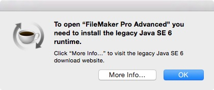 Java SE 6 error when trying to launch supported FileMaker