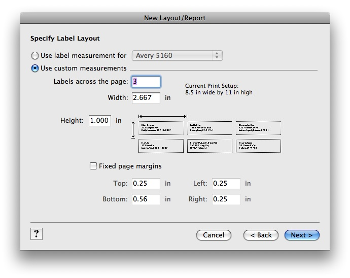 Creating a custom mailing label size | FileMaker